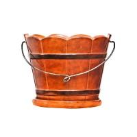 Ghiveci ceramic Butoi B, maro, rotund, 22 x 17 cm