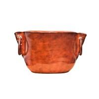 Ghiveci ceramic vas cu inele, maro, rotund, 19 x 15.5 cm