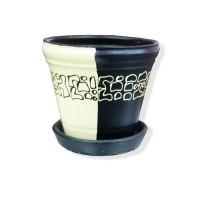 Ghiveci ceramic drept, diverse culori, rotund, D 12 cm