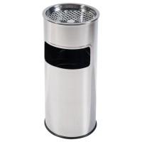 Cos gunoi cu scrumiera Plastor D 25 cm din inox, forma cilindrica, cromat, 9L