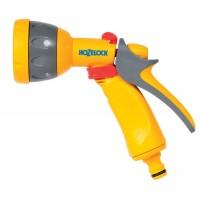 Pistol de stropit Hozelock Multi Spray, PVC, debit reglabil, 5 jeturi stropire + cupla furtun Aqua Stop