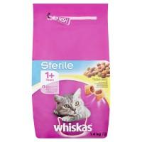 Hrana uscata pentru pisici, Whiskas Sterile, adult, carne de pui, 1.4kg