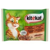 Hrana umeda pentru pisici Kitekat, adult, cu vita si pui, 4 x 100 g