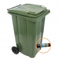 Europubela cu rotile, verde, 240L + saci menajeri Fino LD, 240L, 8 buc