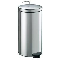 Cos gunoi Meliconi din inox, forma cilindrica, cromat, cu pedala si capac batan, 30L