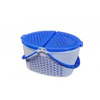 Cos picnic cu capac pliabil, oval, albastru, 25 x 42 cm