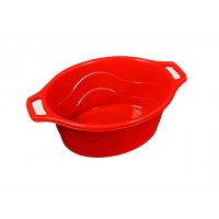 Lighean oval cu manere, plastic, rosu, 30 L, 570x470x230 mm