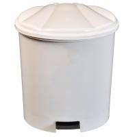 Cos gunoi Plastina din plastic, forma semiovala, alb, cu pedala si capac batant, 5L