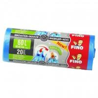 Saci menajeri / gunoi Fino Easy Pack, cu prindere, albastru, 60L, 60 x 67 cm, 20 buc