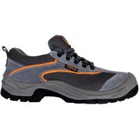 Pantofi de protectie Emerton cu bombeu metalic, piele suede, gri +  oranj, S1 , marimea 45