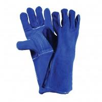 Manusi sudura Gantex EM5, piele spalt, albastru / rosu / negru