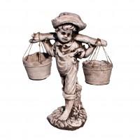 Statuie Baietel cu galeti, decoratiune gradina, beton, H 40 cm