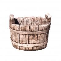 Ghiveci din beton, aspect lemn, oval, pentru exterior, 38 x 30 x 30 cm