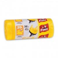 Saci menajeri / gunoi Fino HD, cu manere, galben, 20L, 30 buc