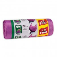 Saci menajeri / gunoi Fino HD, cu manere, violet, 60L, 20 buc