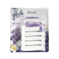 Odorizant camera Glade Discreet, aparat + rezerva, lavanda, 2 x 8 g