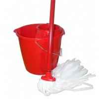 Mop sintetic + galeata din plastic 15L + coada metalica + storcator Plastor, rosu