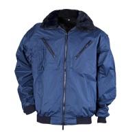 Haina de iarna Gantex ES32 Zembla, poliester, impermeabila, negru + bleumarin, guler din blana, marimea XXXL