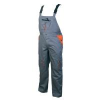Pantaloni salopeta pentru protectie, bumbac + poliester, gri + portocaliu, marimea 48