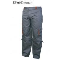 Pantaloni pentru protectie, bumbac + poliester, gri, marimea 60