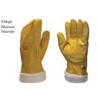 Manusi Gantex Islande EM96, piele bovina + blana sintetica, galbene, marimea 10