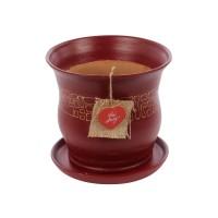 Ghiveci ceramic Lena cu aplicatie, maro, rotund, 22 x 21 cm