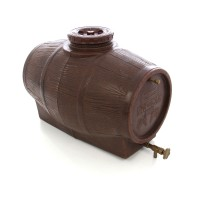 Butoi plastic alimentar, pentru vin Mantzaris, cu capac, 180 litri, maro D 59 cm + canea si aerisitor