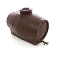 Butoi plastic alimentar, pentru vin Mantzaris, cu capac, 140 litri, maro D 53 cm + canea si aerisitor