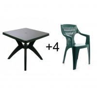 Set masa patrata, cu 4 scaune, pentru gradina, Dol, din plastic, verde