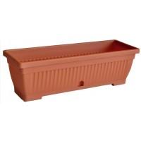 Jardiniera plastic Verbena, cu suport, interior/exterior, maro, 40 x 15.5 cm