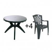 Set masa rotunda, cu 4 scaune, pentru gradina, Dol, din plastic, verde