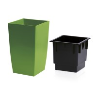 Ghiveci din plastic Coubi, patrat, verde 24 x 24 x 42.5 cm