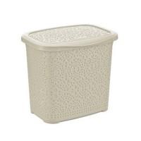 Cutie depozitare detergent, tip ratan, plastic, 29.2 x 23.2 x 25.7 cm