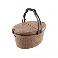 Cos picnic cu capac pliabil Mara, tip ratan, plastic, diverse culori, 35 x 50 x 28 cm