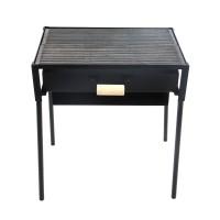 Gratar de gradina, cu carbuni, cu sertar si cenusar 2M, fix, din metal, 55 x 35.5 x 65 cm