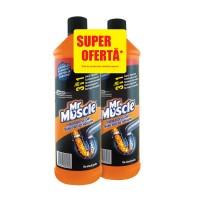 Pachet solutie pentru desfundarea tevilor Mr. Muscle gel 2 x 1000 ml