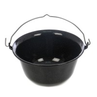 Ceaun emailat, cu maner, negru, 4 L, D 26 cm
