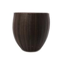 Masca ghiveci Rattan, rotunda, plastic, maro, D 49 cm