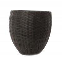 Masca ghiveci Rattan, rotunda, plastic, negru, D 49 cm