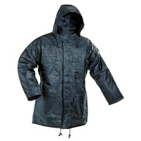 Jacheta de iarna Atlas, scurta, fas, albastra, cu buzunare si gluga, marimea XXXL