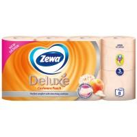 Hartie igienica Zewa Deluxe Piersica, fibre reciclate, 3 straturi, 8 role