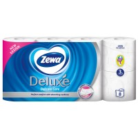 Hartie igienica Zewa Deluxe Delicate Care, fibre reciclate, 3 straturi, 8 role