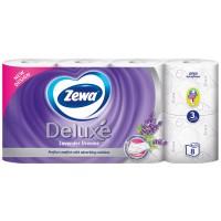 Hartie igienica Zewa Deluxe Lavanda, fibre reciclate, 3 straturi, 8 role
