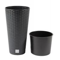 Ghiveci din plastic cu finisaj ratan sintetic Rato Tubus, antracit D 20 cm