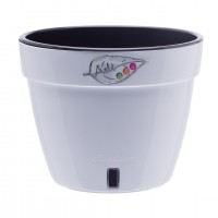 Ghiveci din plastic Asti, alb-negru D 18 cm