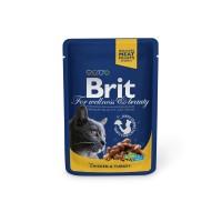 Hrana umeda pentru pisici, Brit, adult, carne de pui si curcan, 100g