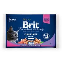 Hrana umeda pentru pisici, Brit, adult, cod si somon + pastrav, 4 x 100g