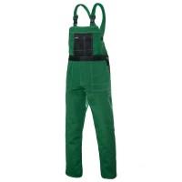 Pantaloni pentru protectie EP14.1, pieptar, tercot, verde, marimea 54