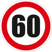 Indicator semnalizare Limitare viteza 60, autocolant, diametru 12 cm