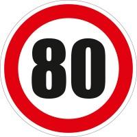 Indicator semnalizare Limitare viteza 80, autocolant, diametru 12 cm